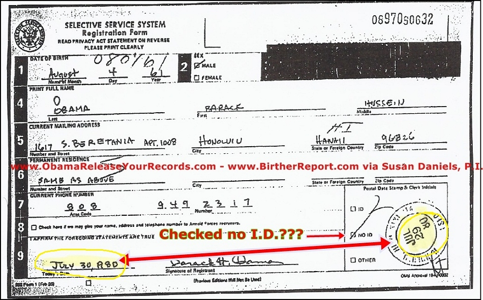 ObamaS Forged Selective Service System Card
